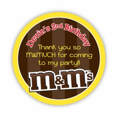 "M&M's Party Personalized 3"" Stickers"