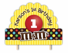 M&M's Party Personalized Cake Topper
