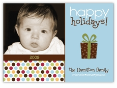 Metro Dots in Blocks Blue Photo Holiday Card