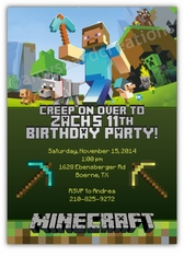 Minecraft Birthday Party Invitation