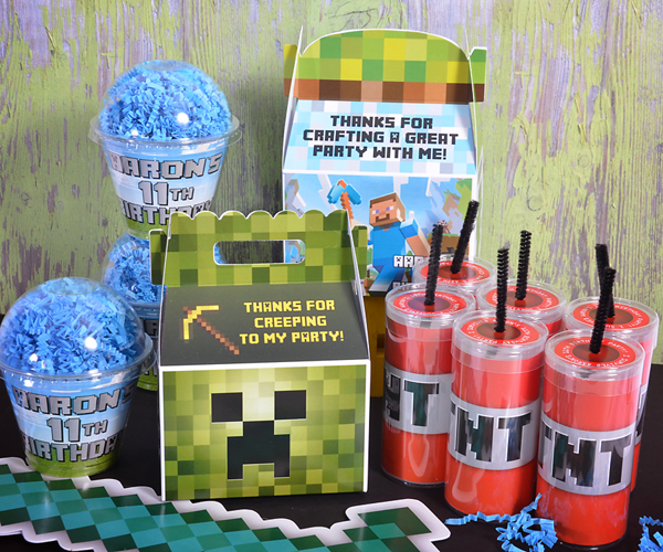 Home invitations party decorations favors minecraft party supplies