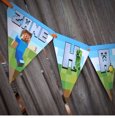 MineCraft Personalized Birthday Banner