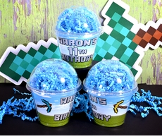 MineCraft Personalized Cupcake Style Favor Cup Box