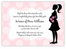 Mod Mama Triplet Girls Baby Shower Invitation