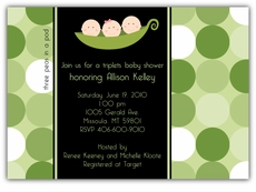Mod Peas Dots Girl-BoyTriplets Baby Shower Invitation