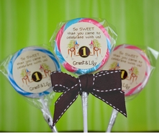 Monkeys Twin Birthday<br>Personalized Lollipop Favors