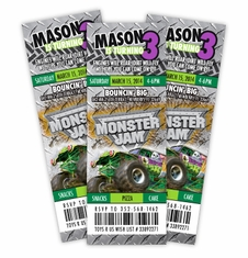 Monster Jam Grave Digger Monster Truck<br>Event Ticket Style Birthday Personalized Invitations