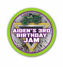 """Monster Jam Grave Digger Monster Truck Party Personalized 3"""" Stickers"""