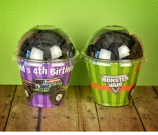 Monster Jam Grave Digger Monster Truck Personalized Cupcake Style Favor Cup Box