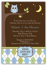 Night Owl Baby Boy Shower Invitation