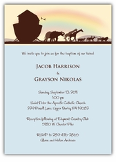 Noah�s Ark Sillouette Twin Boys Baptism Invitation