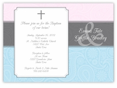 Paisley Plaque Girl Boy Twins Baptism Invitation