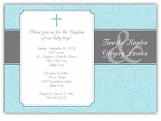 Paisley Plaque Twin Boys Baptism Invitation