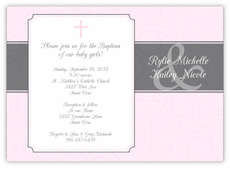 Paisley Plaque Twin Girls Baptism Invitation