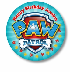 "Paw Patrol Birthday Party Personalized 3"" Glossy Stickers"