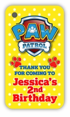 Paw Patrol Birthday Party Personalized Favor Bag Tags