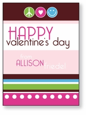 Peace, Love, Happiness Personalized Valentine