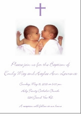 Photo Girl Twins Baptism Invitation