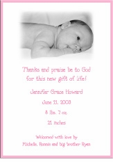 Pink Border Girl Photo Birth Announcement
