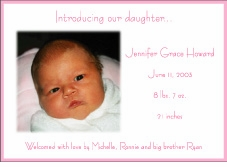 Pink Border HZ Girl Photo Birth Announcement