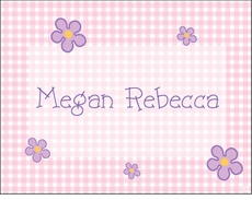 Pink Gingham Flower Note Cards