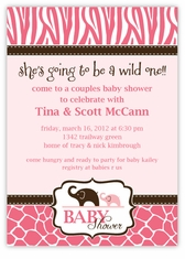 Pink Wild Safari Baby Shower Invitation