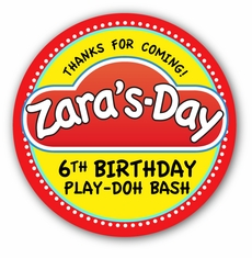 "Play-Doh Birthday Party Personalized 3"" Glossy Stickers"
