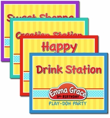 Play-Doh Small Personalized Party Signs, 4 pack