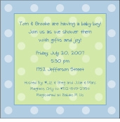 Polka Dots on Square Blue Invitation