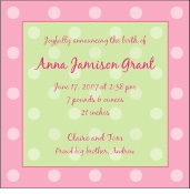Polka Dots on Square Girl Birth Announcement