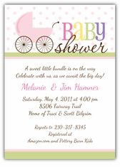 Precious Pram Girl Baby Shower Invitation