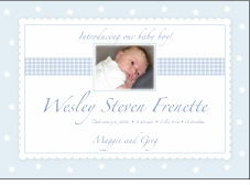 Precious Print Boy Photo Birth Announcement