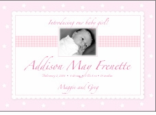 Precious Print Girl Photo Birth Announcement