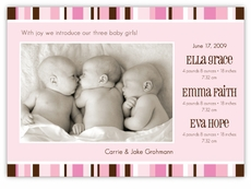 Pretty In Pink Stripes Triplets Birth Announcement