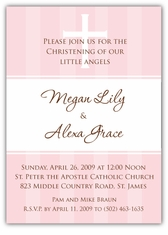 Pure Class Girl Twins Baptism Invitation