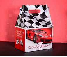 Red Race Car Checkered Flag Racing Party <br>Personalized Gable Box Party Favor