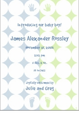 Retro Circles Boy Birth Announcement
