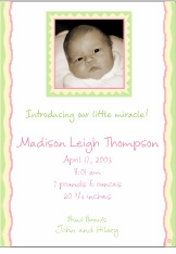 Scrapbook Style Girl Photo Birth Announcement