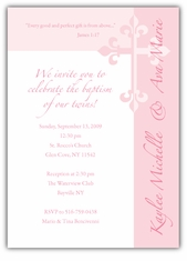 Serendipity Girl Twins Baptism Invitation