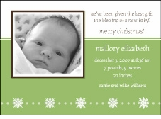 Serendipity Neutral Holiday Photo Birth Announcement