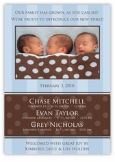 Serenity BBB Photo Triplet Birth Announcement
