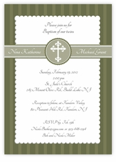 Simply Splendid Twins Baptism Invitation Olive