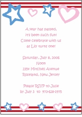 Stars Stripes and Hearts Birthday Invitation