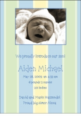 Stripes Boy Photo Birth Announcement
