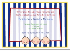 Stripes Faces Boy Triplets Birthday Invitation
