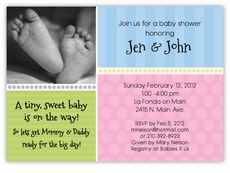 Sweet Feet Photo Gender Neutral Baby Shower Invitation