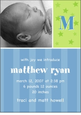 Sweet Joy Boy Photo Birth Announcement