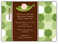 Sweet Pea in a Pod Girl Baby Shower Invitation