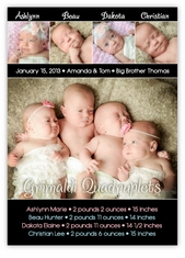 Table for Four Bold & Beautiful Quadruplets Photo Birth Announcement