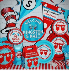 The Ultimate Personalized Party Pack for 12<br> Twin 1 Twin 2 Dr. Seuss Onesies Twins Baby Shower Supplies